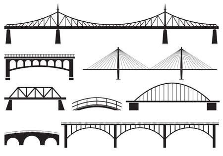 Bridge icon set. Different bridges silhouettes. Vector illustration.