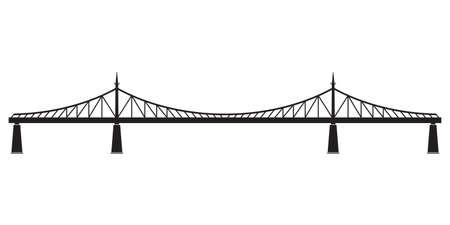 Bridge in retro style. Side view. Black silhouette of bridge. Vector illustration.