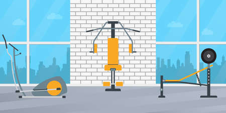 Gym interior with fitness equipment. Vector illustration.