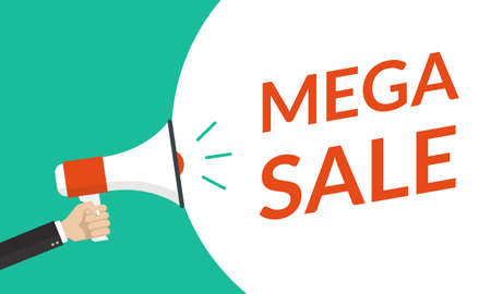 Sale banner, poster or flyer concept with hand is holding a megaphone or loud speaker. Mega sale, discount, promotion and advertising design template. Vector illustration.