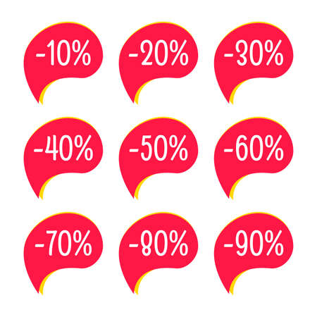 Sale sticker set. 10,20,30,40,50,60,70,80,90 percent price off discount label or tag. Promo badge for advertising design. Vector illustration.