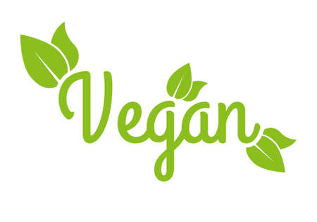 Vegan icon or logo. Healthy food and product label with green leaves. Vector illustration. Ilustração