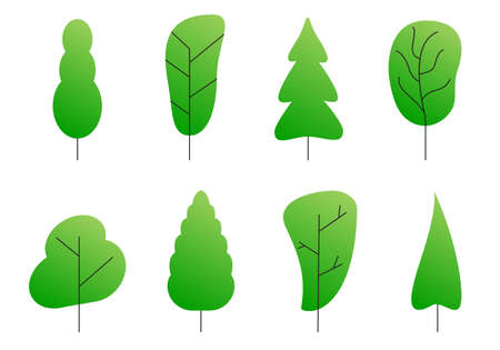 Tree set. Abstract trees silhouettes for nature, cartoon forest or garden design. Green plants. Vector illustration. Ilustração