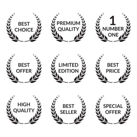 Laurel wreath set. Premium quality, Best choice, Special offer badges. Vector illustration. Vettoriali