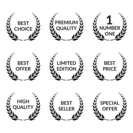 Laurel wreath set. Premium quality, Best choice, Special offer badges. Vector illustration. Vektorové ilustrace