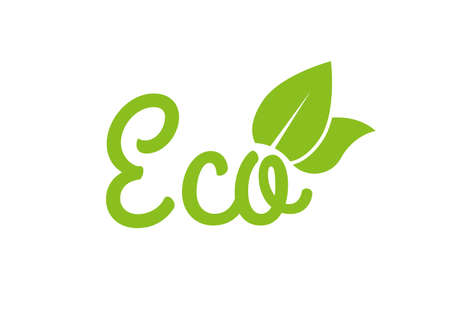 Eco icon or logo. Healthy food and product labels with green leaves. Vector illustration.