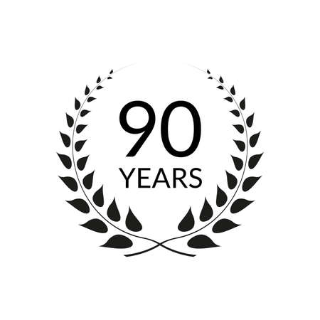 90 years anniversary logo with laurel wreath frame. 90th birthday celebration icon or badge. Vector illustration.
