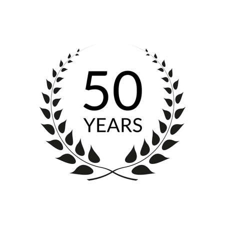 50 years anniversary logo with laurel wreath frame. 50th birthday celebration icon or badge. Vector illustration.