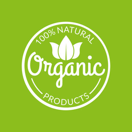 Organic icon or stamp. Natural products label with green leaves. Vector illustration.