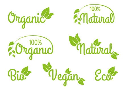 Organic, Natural, Bio, Vegan and Eco icon or logo set. Healthy food and product labels with green leaves. Vector illustration. Ilustração