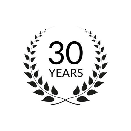 30 years anniversary logo with laurel wreath frame. 30th birthday celebration icon or badge. Vector illustration.