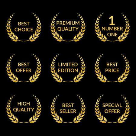 Laurel wreath set. Golden Premium quality, Best choice, Special offer badges. Vector illustration. Ilustração