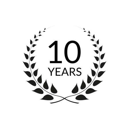 10 years anniversary logo with laurel wreath frame. 10th birthday celebration icon or badge. Vector illustration. Ilustração