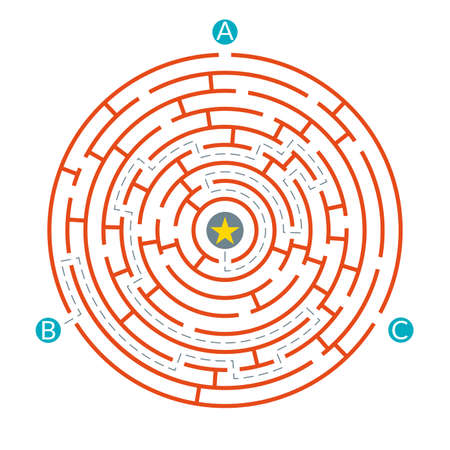 Labyrinth maze game. Circle puzzle. Find exit or right way challenge. Vector illustration.