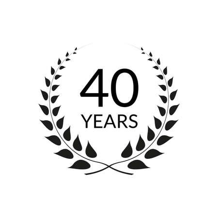 40 years anniversary logo with laurel wreath frame. 40th birthday celebration icon or badge. Vector illustration. Ilustração