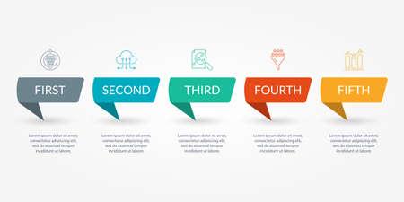 Infographic template with 5 steps, levels or options. Ilustração