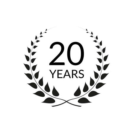 20 years anniversary logo with laurel wreath frame. 20th birthday celebration icon or badge. Vector illustration.