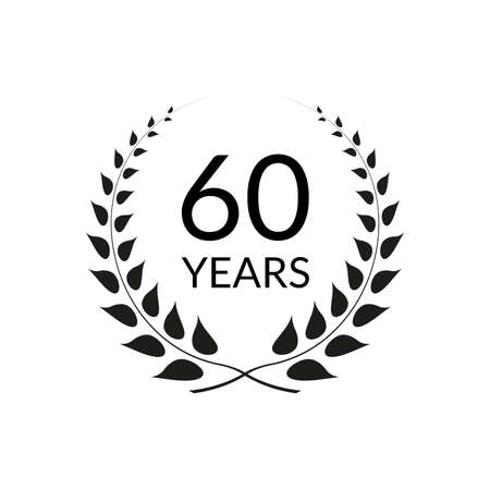 60 years anniversary logo with laurel wreath frame. 60th birthday celebration icon or badge. Vector illustration.
