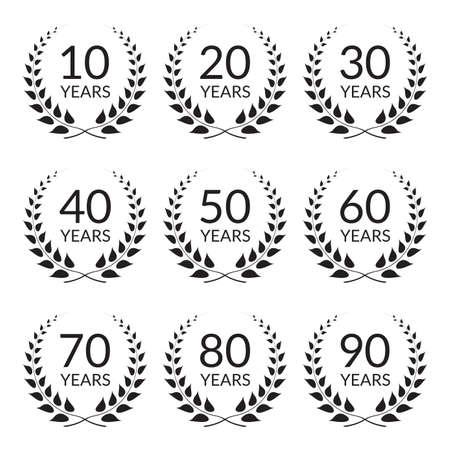 Anniversary icon set. Ilustração