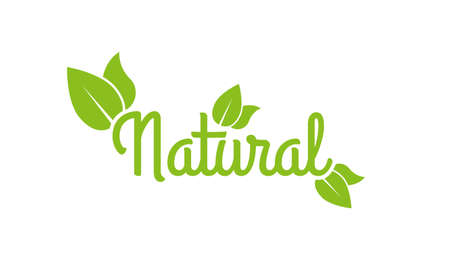 Natural logo or label. 100% Healthy food and product icon with green leaf. Vector illustration.