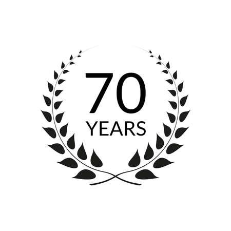 70 years anniversary logo with laurel wreath frame. 70th birthday celebration icon or badge. Vector illustration. Ilustração