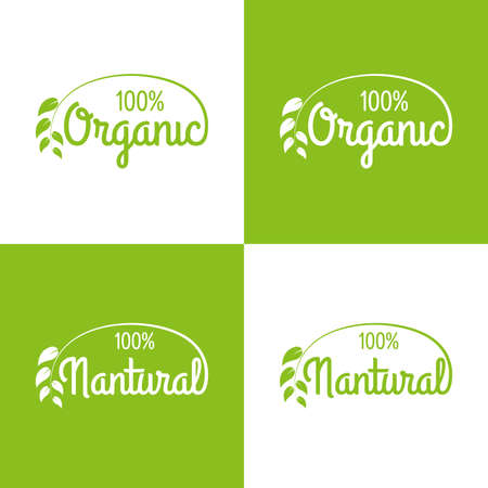Organic and natural logo or label set. Healthy food and product icons with green leaf. Vector illustration. Ilustração