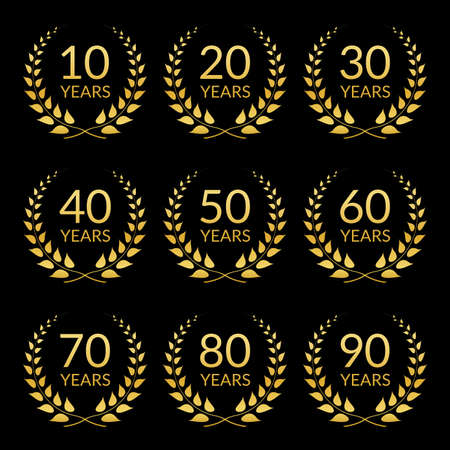 Anniversary icon set. Golden laurel wreath collection with 10,20,30,40,50,60,70,80,90 years. Birthday and celebration card template. Vector illustration.