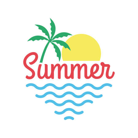 Summer logo with beach, palm tree, sun and sea or ocean. Tropical T-shirt typography design. Apparel graphic. Vector illustration.