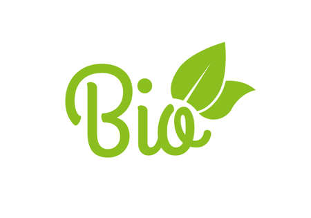 Bio icon or logo. Healthy food and product label with green leaves. Vector illustration.