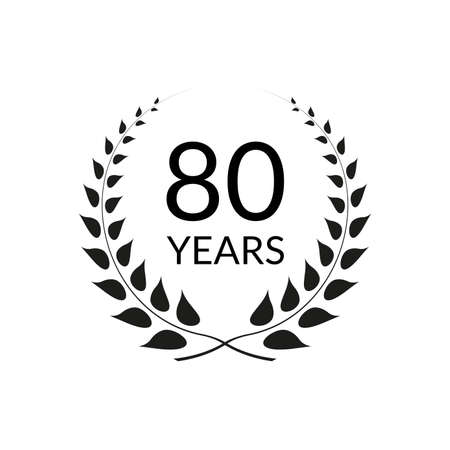 80 years anniversary logo with laurel wreath frame. 80th birthday celebration icon or badge. Vector illustration.