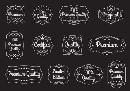 Vintage frame set. Retro label or banner border elements collection with Ptremium Quality, Original, Certified text. Vector illustration. Ilustração