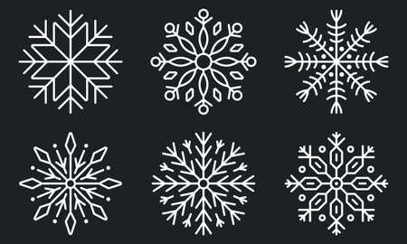 Snowflake icon set. Winter, Christmas design elements. Snow flake silhouette. Vector illustration. Ilustração