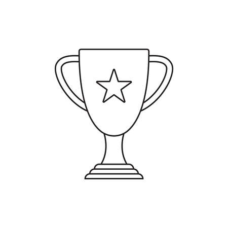 Trophy cup outline icon. Winner award. Champion prize. First place symbol. Vector illustration.