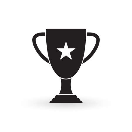 Trophy cup icon. Winner award. Champion prize. First place symbol. Vector illustration.