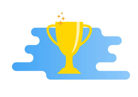 Trophy cup flat icon. Winner award. Champion prize. First place symbol. Vector illustration.