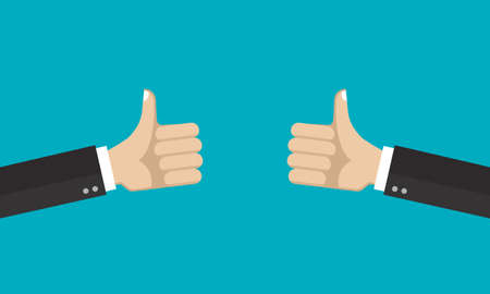 Hands with thumb up. Like, good, positive symbol. Vector illustration.