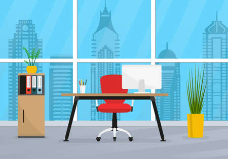Office interior. Business workplace. Modern office room with window, desk and computer. Vector illustration.