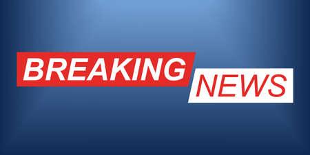 Breaking news logo. Background for TV broadcasting. News banner. Vector illustration. Ilustração