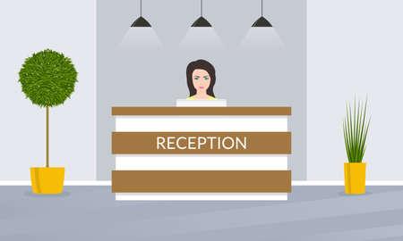 Reception desk with female receptionist. Office, hotel lobby interior design. Vector illustration.