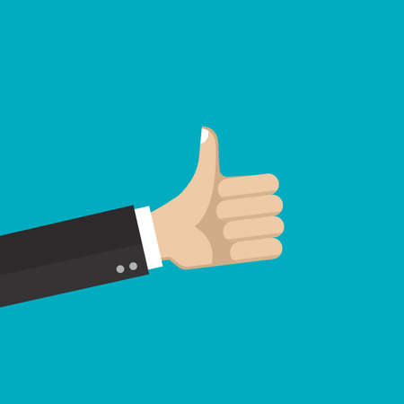 Hand with thumb up. Like, good, positive symbol. Vector illustration.