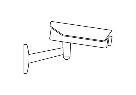 CCTV camera outline icon. Video surveillance sign. Security cam and safety symbol. Vector illustration.