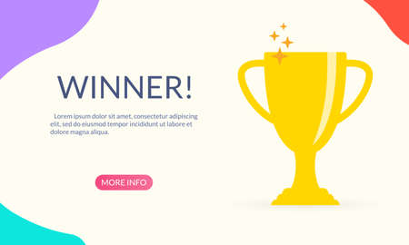 Trophy cup banner. Award, reward, prize and first place symbol. Winner, champion, victory and success concept for landing page. Vector illustration.