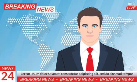 TV news studio. Breaking news background with anchorman or presenter. Television program template. Vector illustration. Ilustração