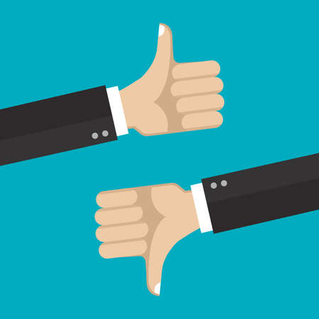 Thumb up and Thumb down hands. Like and Unlike sign. Good and Bad symbol. Vector illustration. Ilustração