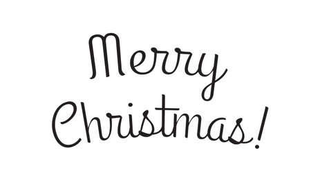 Merry Christmas text. Xmas banner for typography. Winter holidays greeting card design element. Vector illustration. Ilustração