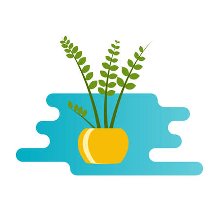 Houseplant icon in flat style. Indoor home plant in the pot. Vector illustration.