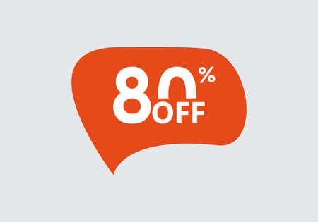 Sale sticker. 80 percent price off discount label or tag. Promo badge for advertising design. Vector illustration. Ilustração
