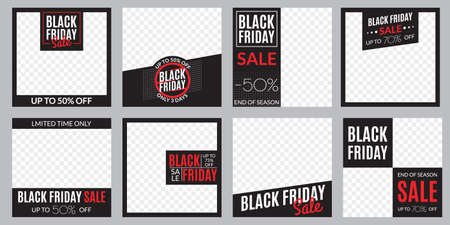 Black Friday sale banner set. Social media post or web ads design template. Price off discount background. Vector illustration. Çizim