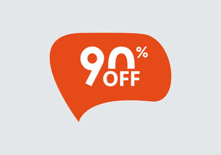 Sale sticker. 90 percent price off discount label or tag. Promo badge for advertising design. Vector illustration.
