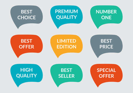 Sticker or badge set. Promo labels collection. Premium quality, Best choice, Special offer sppech bubbles. Vector illustration.